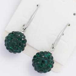 Серьги№982 зеленые шарики в мелких камешках на круглом замке