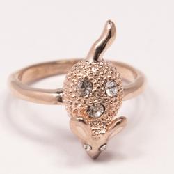 Кольцо Аэлина№128 мышка под золото с белыми стразами ,размерное