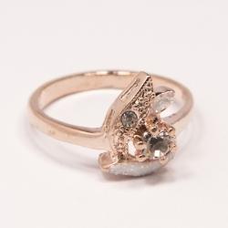 Кольцо Аэлина№115 под золото с белыми стразами ,размерное