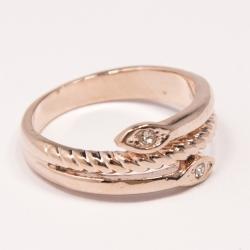 Кольцо Аэлина№108 под золото змейка с белыми стразами ,размерное