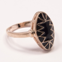 Кольцо Аэлина№93 под золото с черной эмалью