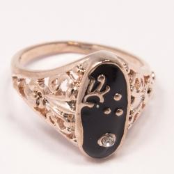 Кольцо Аэлина№96 под золото маркиза с черной эмалью