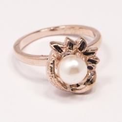 Кольцо Аэлина№97 под золото жемчужина с черной эмалью