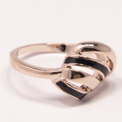 Кольцо Аэлина№91 под золото с черной эмалью