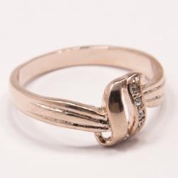 Кольцо Аэлина№98 под золото с белыми стразами ,размерное