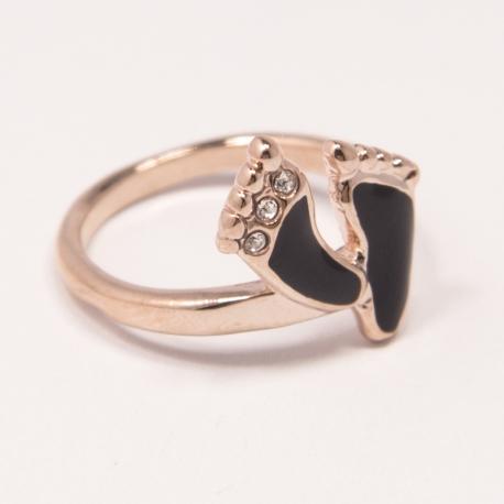 Кольцо Аэлина№84 под золото с черной эмалью -черные пяточки