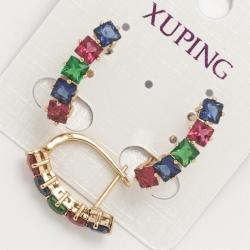 Серьги Xuping№590 дорожка с разноцветными цирконами.