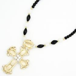 Подвеска№1290 крест с камнями лунного оттенка на длинной цепи из черных жемчужин