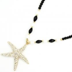 Подвеска№1291 морская звезда с белыми стразами на длинной цепи из черных жемчужин