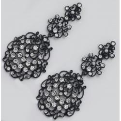 Серьги№1019 ажурные с белыми стразами на черном металле