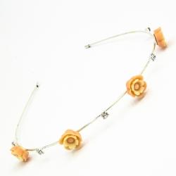Ободок№151 оранжевые розочки на белом металле