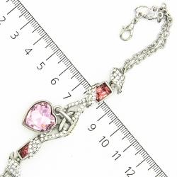 Браслет №741 под серебро с розовым сердечком