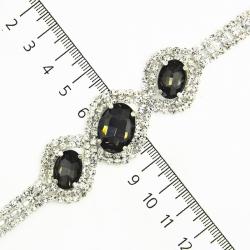 Браслет №743 серые камни на металле под серебро с мелкими белыми стразами