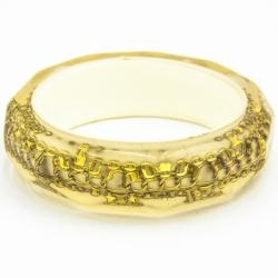 Браслет№751 силиконовый с золотой вставкой в форме сетки