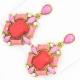 Серьги№1073 коралловые с розовыми вставками