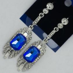 Серьги№1118 синий камень на металле под серебро с белыми стразами
