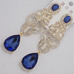 Серьги№1174 синий овальный камень висюлькой и ажурная сеточка под золото с белыми стразами