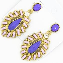 Серьги№1223 фиолетовые оригинальные вставки ,выложенные листиками
