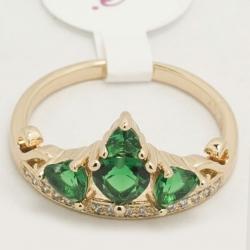 Кольцо Xuping№175 корона с зелеными цирконами