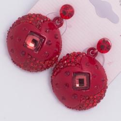 Серьги а/з№148 красные стразы форма висюльки на красном металле