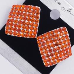 Серьги а/з№149 оранжевые стразы на светлом металле