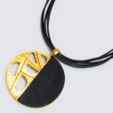 Подвеска№1478 кулон черный с золотом на черном шнурке