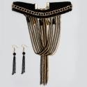 Чекер№1544 черный с металличекими вставками и висюльками из мелких цепочек